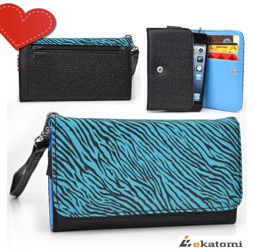 [Metro Safari] Blue Zebra & Black | Women'S Wallet Universal Phone Case With Cash & Card Holder Wrist-Let Fits Apple Iphone 5 5S 5C 3Gs front-1076261