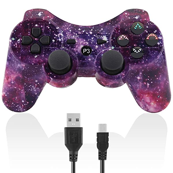 Molgegk Wireless Controllers For PS3 Playstation 3 Dualshock Six-axis,Bluetooth Remote Gaming Gamepad Joystick Includes USB Cable (Starry Sky,Pack of 1) (Color: Starry sky)