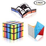 Pack of 3 Cube Set, 1x3x3 Floppy Fidget Spinner Cube, 3x3x3 Twisted Cube and Colorful Cube Puzzle Toy Set, Brain Teasers Magic Puzzle Cube for Kids Adults By FIDGET DICE