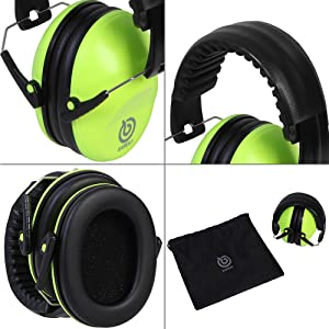 EAREST Hearing Protection Ear Muffs, NRR 20dB Professional Noise Reduction Safety Earmuff/Ear Defenders/Ear Protector for Shooting/Hunting/Yard Working Fits Adults to Kids (Color: Fluorescent Green)