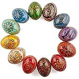 12 Ukrainian Hand Painted Pysanky Wooden Easter Eggs