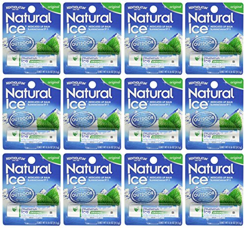 Mentholatum Natural Ice Medicated Lip Protectant Sunscreen, 12 Count (Natural Balm compare prices)