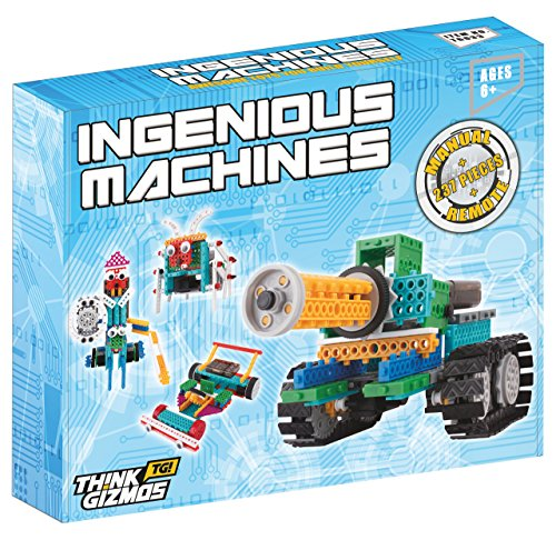 Roboter-Set-fr-Kinder-Ingenious-Machines-Bausatz-fr-ferngesteuertes-Spielzeug-TG633-Toller-und-unterhaltsamer-Bausatz-Konstruktionsspielzeug-von-ThinkGizmos-markenrechtlich-geschtzt-alle-Batterien-ent