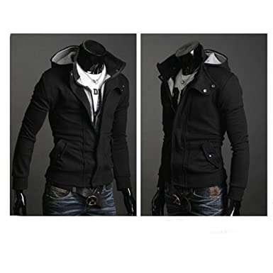 Amoin Men Casual Fashion Zipper Slim Fit Hoodies Jackets Coats Mens Casual Luxury Buckle Top