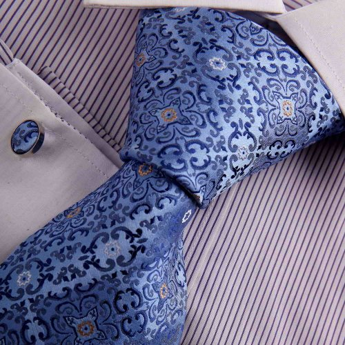 Blue Mens Silk Tie CLUB Royal Blue Patterned Woven Silk Tie Cufflinks Present Box Set Y&G Business Tie Set A7055