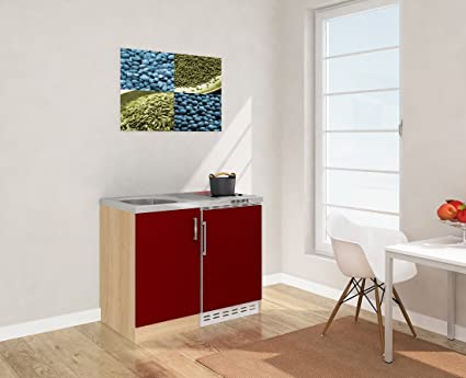 Respekta Mini Kitchen Kitchen Unit 100 cm Imitation Rough Sawn Oak Front Red/MK 100 Esrc