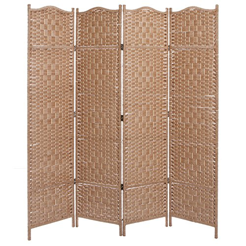 Freestanding beige wood woven textured 4 panel partition room divider folding privacy screen - Woven wood wall panels ...