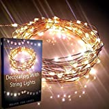 Starry Lights 20Ft 120 LEDS Warm White Color by Qualizzi®. Amazingly Bright - Ultra-thin Flexible Easy to Wrap Copper Wire Plus Decoratint With String Lights E-book. Fairy Light Effect. Travel Plug 110 220v