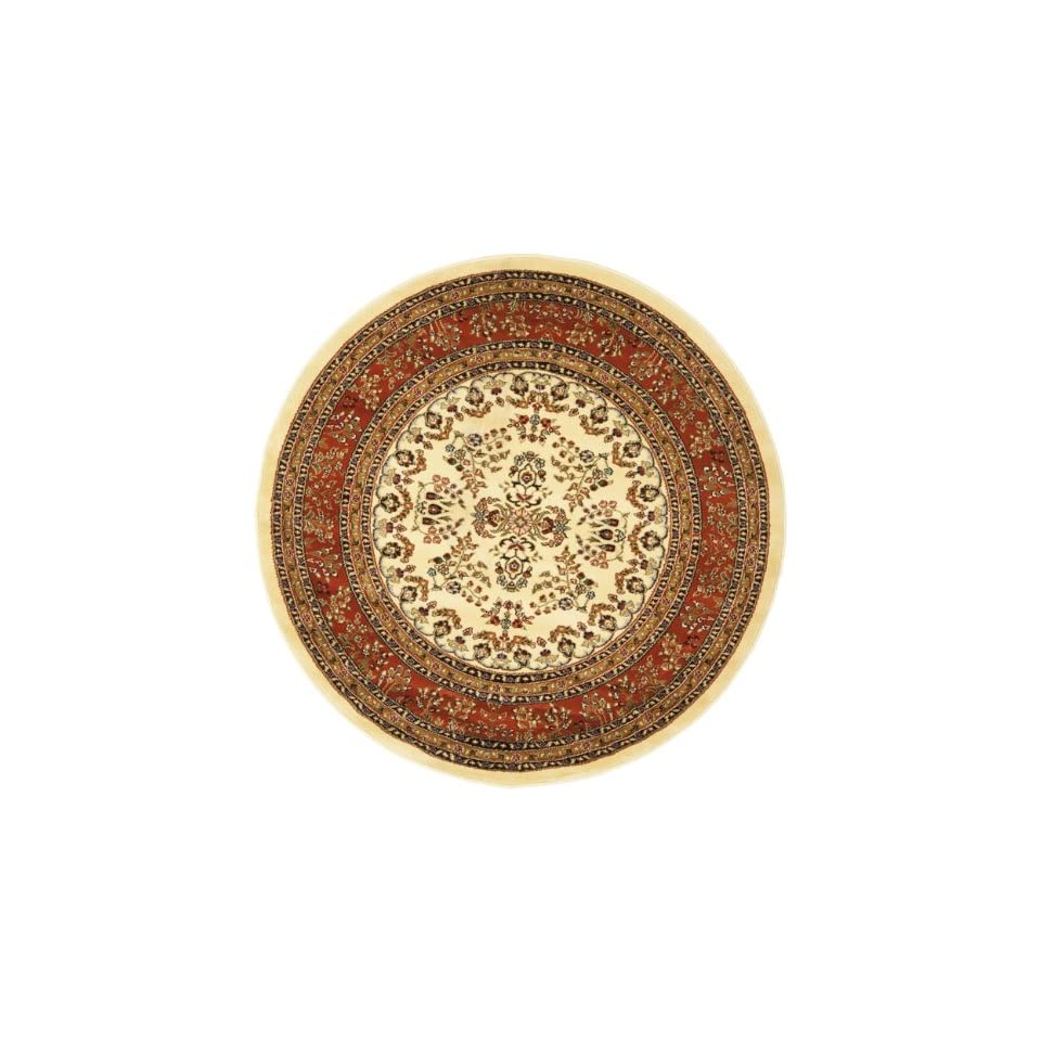 Safavieh Lyndhurst Collection LNH331R Ivory and Rust Round Area Rug, 8 Feet Round