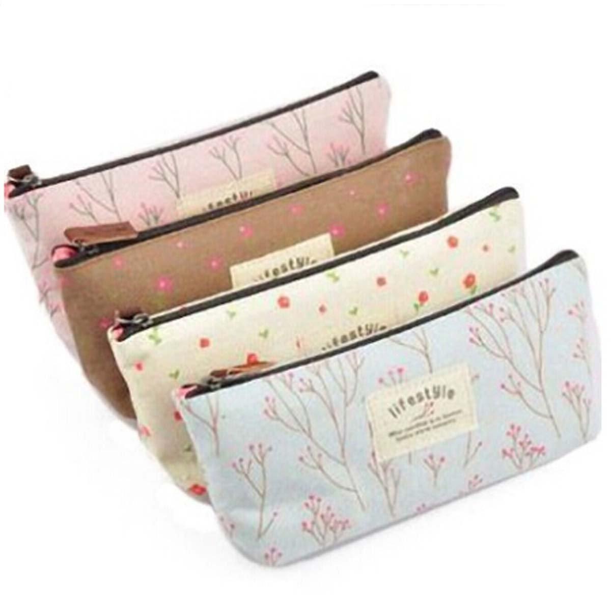 SODIAL(R) Pastoral Canvas Pen Bag , Brand New, Different Colors,set of 4