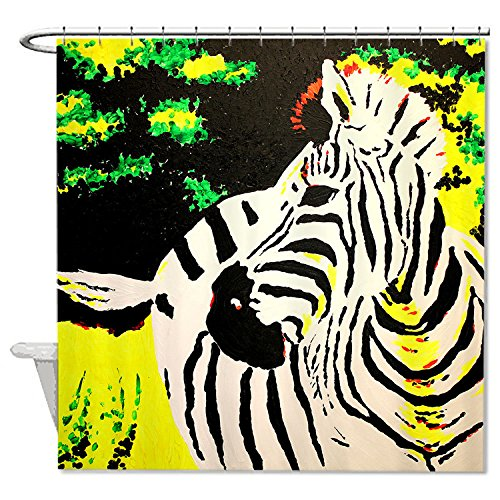 whiangfsoo-zebra-cartoon-with-forest-background-home-decro-polyester-bath-shower-curtain-60x72