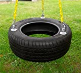 Eastern Jungle Gym 3 Chain Rubber Tire Swing with Coated Chain, Black/Yellow