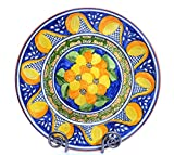 Hand-Painted Decorative Plate, Medium Yellow and Blue Home Decor
