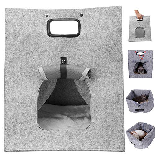 Aipet Wool Felt Pets Bed, Pets Cave, Portable Travel Carrier Soft-Sided Bag for Small Pets