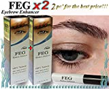 2 X FEG Augenbrauen -Enhancer. Die stärkste Augenbraue Wachstum Serum 100% Natural. Förderung schnelle Wachstum der Wimpern. 100% Vorlage mit Anti-Fälschungs-Aufkleber !!!
