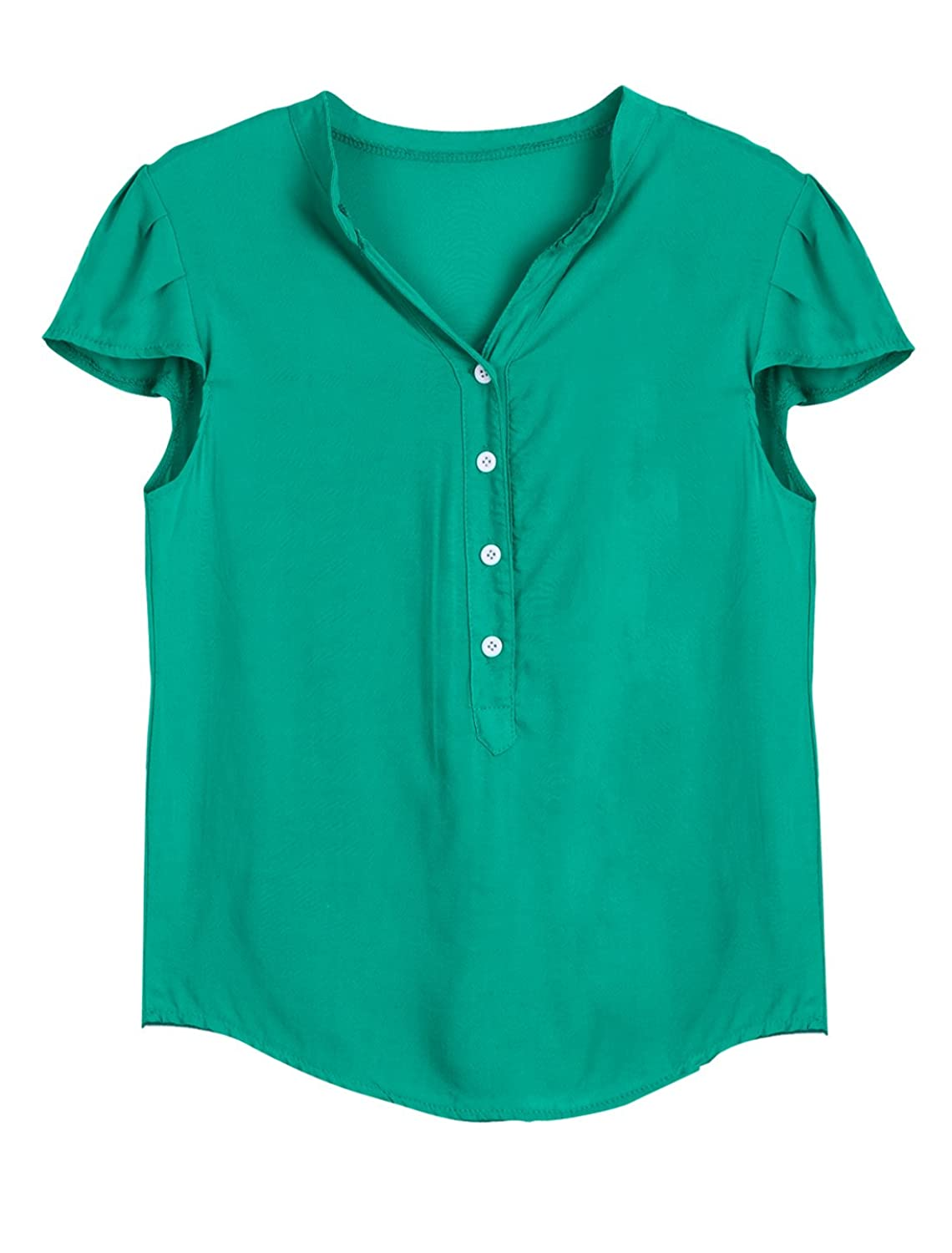 Lady Stand Collar Short Sleeve Button Closure Casual Blouse at Amazon Women�s Clothing store