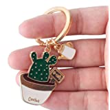 Qinlee Green Cactus Key Ring Key Pendant Key Buckle Potted Plants Cactus Shape Keychain Hang Bag Accessories Key Ring