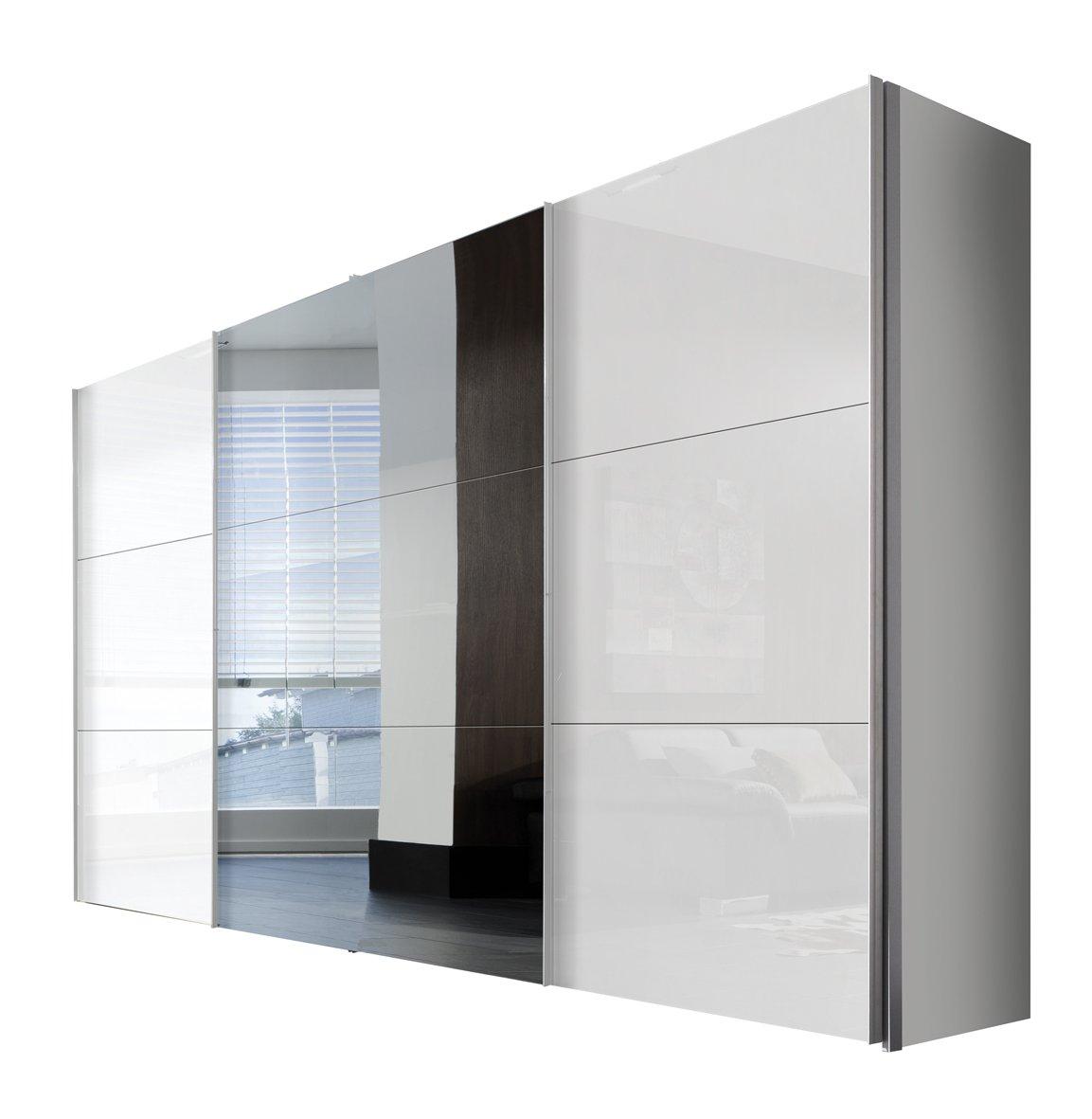 Solutions 45350-203 Schwebetürenschrank 3-türig, Griffleisten Alufarben, Korpus Polarweiß / Front Lack weiß und Spiegel