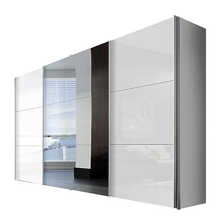 Solutions 45350-203 Schwebeturenschrank 3-turig, Griffleisten Alufarben, Korpus Polarweiß / Front Lack weiß und Spiegel