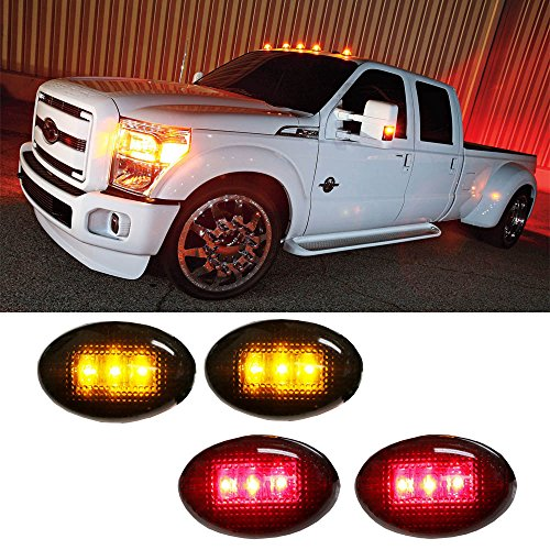 iJDMTOY (4) Smoked Lens LED Fender Bed Side Marker Lights Set For Ford F350 F450 HD Truck (2 x Amber, 2 x Red) (Ford F150 Side Marker Lights compare prices)