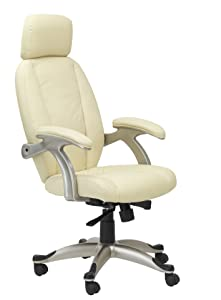 Alphason Bentley Leather Chair   Cream       Office ProductsCustomer review and more description