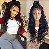 Helene Glueless Lace Front Wigs Long Natural Water Wave Swiss Natural Black Synthetic Lace Front Wig Natural Hairline Heat Resistant Fiber Lace Wigs For Women (22Inch Black Color) (Color: Natural Wave Lace Front Wigs, Tamaño: 22 Inch)