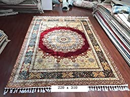 7\'x10\' Red Persian Design Hand Knotted Living Room Turkish Silk Area Rugs Carpets