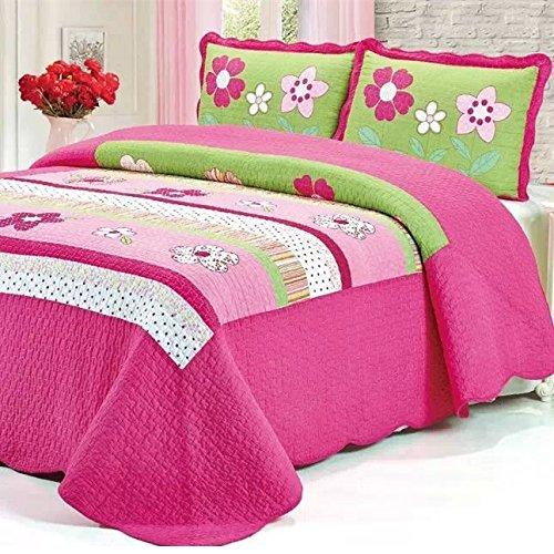 Shopkins Colors Pink Girls Floral Bed Quilt Set Kids ...