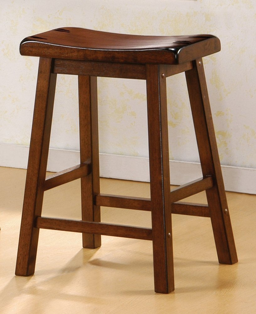 Dark Walnut Finish Bar Stool Wooden Home Barstool Set
