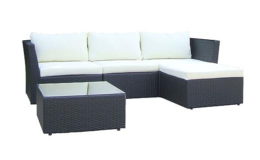 Baidani Starlight Salon de jardin détente avec canapé modulable et table basse noir