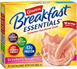 Carnation Breakfast Essentials, Strawberry Sensation Powder, 1.26 oz, 10-Count Envelopes (Pack of 6)