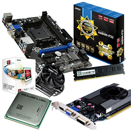 tronics24 PC Aufrüstkit | AMD A6-6400K 2x 3.9GHz Dual-Core | 4GB High-Speed DDR3-RAM PC-1600 GSKILL | Nvidia GeForce GT630 4GB | MSI A68HM-P33 Mainboard mit AMD A68 Chipset | Gigabit-LAN | Soundkarte | USB3
