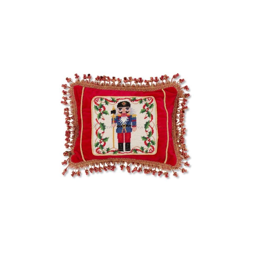 f06bdc240fd8 Handmade Red Velvet Nutcracker Designer Needlepoint Holiday Christmas  Pillow. 14 x 18.