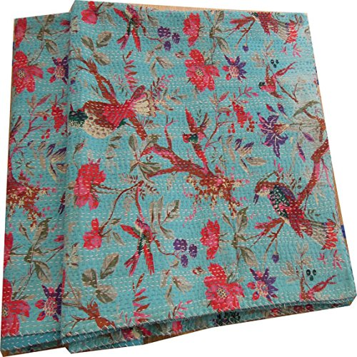 For Sale! Handicrunch Sari Indian Quilt -Kantha Quilt Quilted Bedspreads,throws,ralli,gudari Handmad...