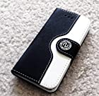 myLife Deep Black and Snow White {Luxury Two Color Design} Faux Leather (Card, Cash and ID Holder + Magnetic Closing) Slim Wallet for the iPhone 5C Smartphone by Apple (External Textured Synthetic Leather with Magnetic Clip + Internal Secure Snap In Hard Rubberized Bumper Holder)