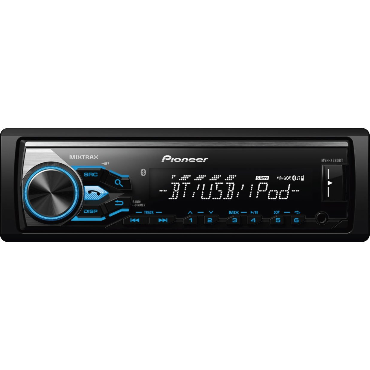 Pioneer MVH-X380BT Digital Media Receiver with Short Chassis Design and Bluetooth