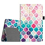 Fintie Folio Case for All-New Amazon Fire HD 8 (6th Generation, 2016 release), Slim Fit Premium Vegan Leather Standing Cover Auto Wake/Sleep for Fire HD 8 Tablet (2016 6th Gen Only), Colorful Mosaic