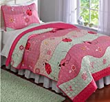 Pink, Red & Green Ladybug Waves Twin Quilt & Sham (2 Piece Bedding)