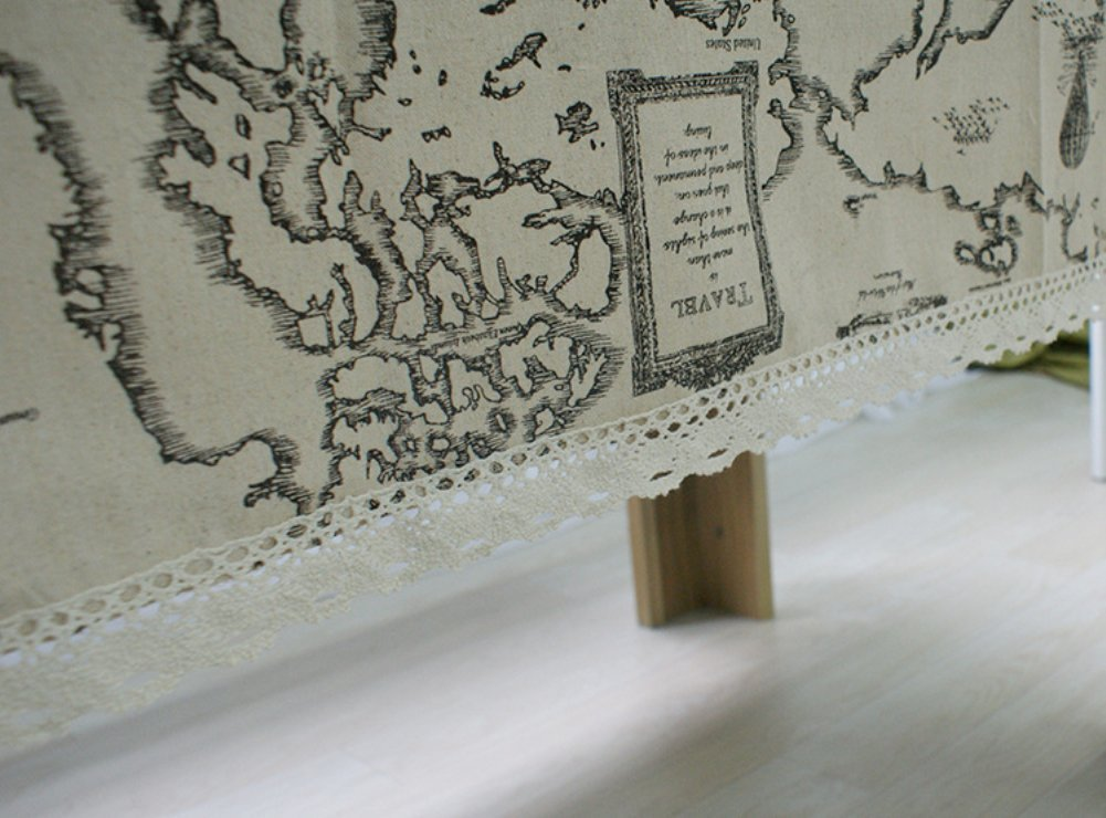 Kingmerlina Cotton Linen Rectangle Map Print Vintage Tablecloth Multi Size 3
