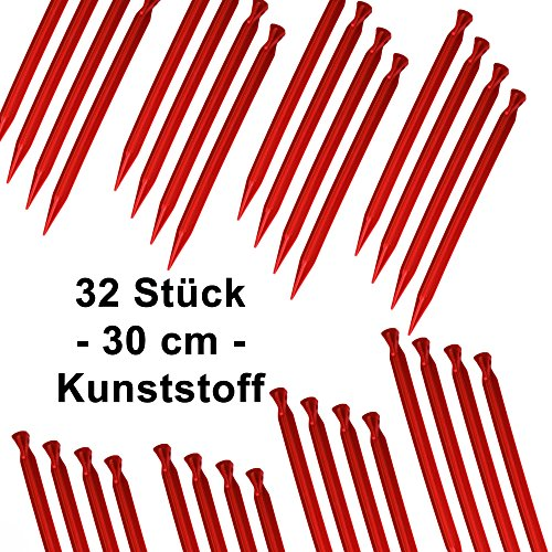 toci-32-pack-plastic-30-cm-long-pegs-with-hook-and-loop-in-red