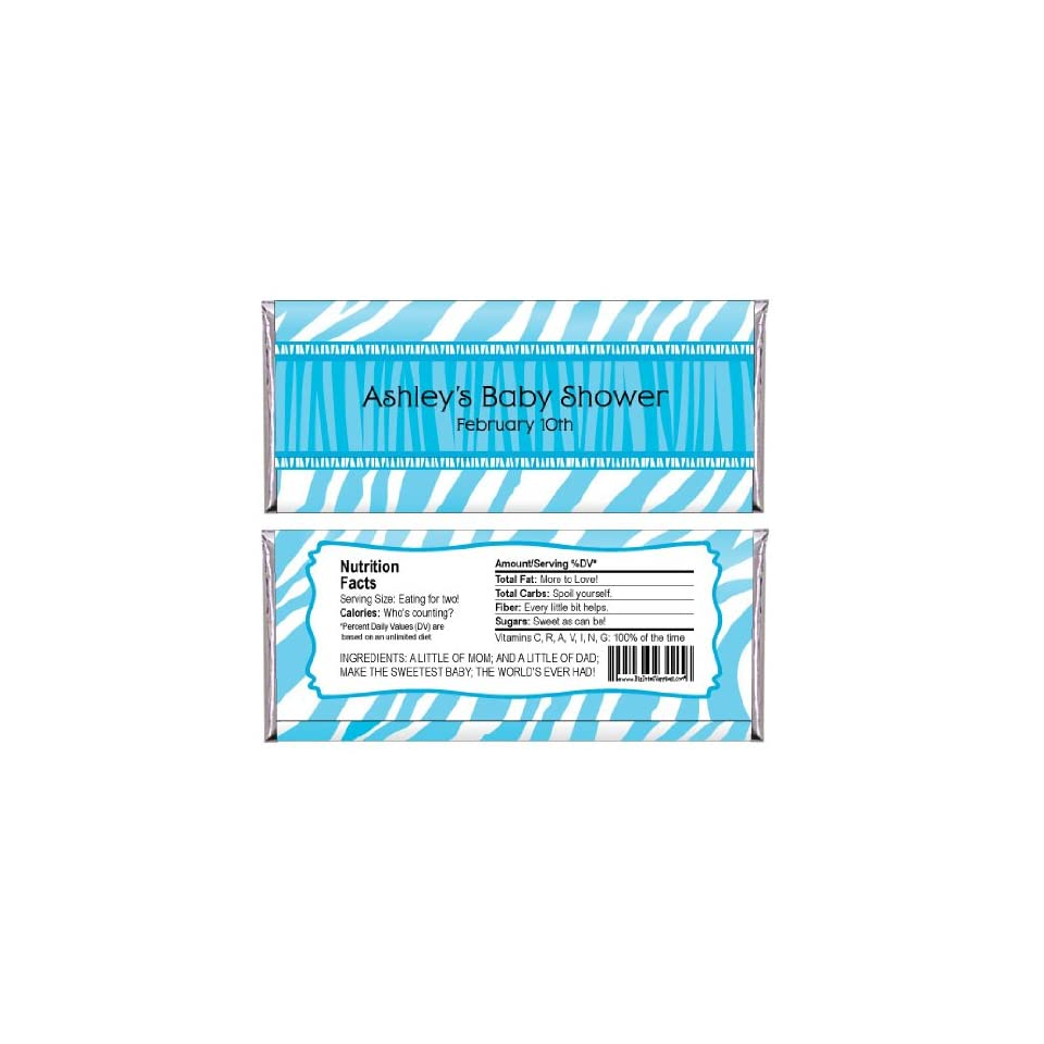 Blue Baby Zebra   Personalized Baby Shower Candy Bar Wrapper Favors