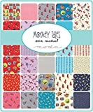 Moda Monkey Tales Charm Pack, Set of 42 5x5-inch (12.7x12.7cm) Precut Cotton Fabric Squares