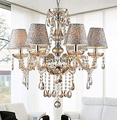 (Ship from USA) Modern Crystal Ceiling Lighting Chandelier 6 Light Lamp Pendant Fixture Clear /ITEM NO#E8FH4F854131949