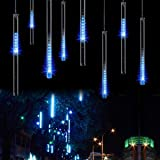 LED Meteor Shower Lights,Haimi Tree 12 Inch 8 Tube 144 Leds,Falling Rain Drop Icicle Snow Fall String LED Waterproof Christmas Lights for Holiday Xmas Tree Valentine Wedding(Blue) (Color: Blue)
