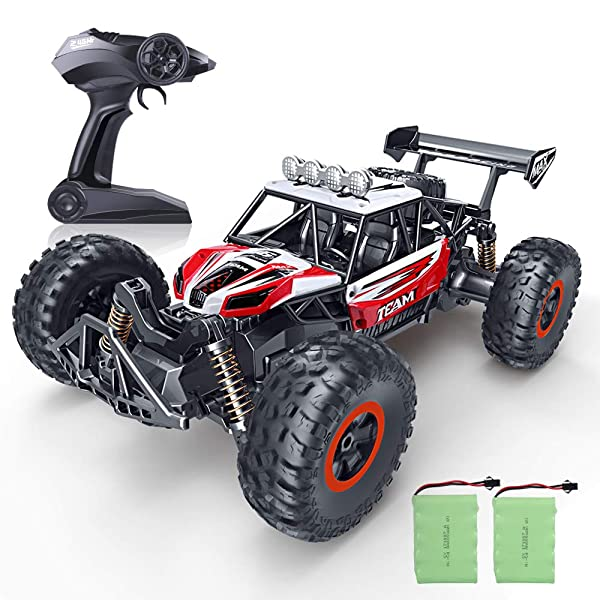 RC Car, SPESXFUN 2019 Updated 1/16 Scale High Speed Remote Control Car, 2.4Ghz Off Road RC Trucks with Two Rechargeable Batteries, Electric Toy Car for All Adults & Kids (Color: Red)