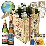 BIERE DER WELT Geschenkbox *PORTOFREI* + gratis Geschenkkarten + Bierbewertungsbogen. Bier Geschenke aus Italien + Griechenland + Niederlande +...Pilsener Urquell + Carlsberg + Baltika +... Bier Geschenke für Männer