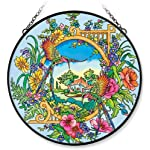 Amia Window Décor Panel Features a Hummingbird Design, 15-Inch Circle, Handpainted Glass