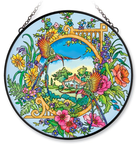 Amia Window Décor Panel Features a Hummingbird Design, 15-Inch Circle, Handpainted Glass 0