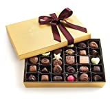 Godiva Chocolatier Assorted Chocolate Gold Gift Box, Wine Ribbon, Great for Gifting, 36 Count