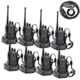 BaoFeng BF-888S Two Way Radio (Pack of 8)Frequency Range UHF 400-470MHz 16CH Walkie Talkies with Earpieces and Programming Cable for Party, Meeting, Travelling (Black)